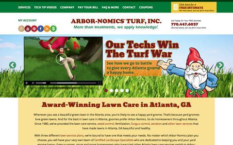 Screenshot of Home Page arbor-nomics.com - Top Rated Atlanta, GA Lawn Care Service | Arbor-Nomics - captured Jan. 12, 2018