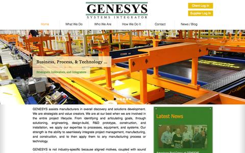 Screenshot of Home Page genesyscorp.net - GENESYS Systems Integrator - captured Oct. 1, 2014