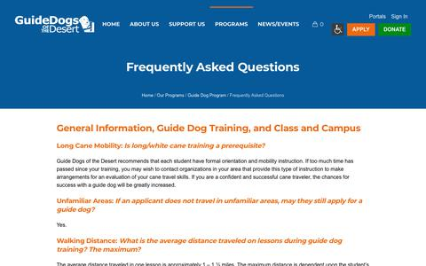 Screenshot of FAQ Page guidedogsofthedesert.org - Frequently Asked Questions - Guide Dogs of the Desert - captured Feb. 21, 2018