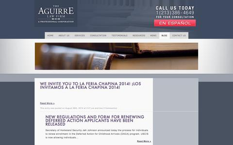 Screenshot of Blog getjustice.us - The Aguirre Law Firm  » Blog - captured Oct. 1, 2014