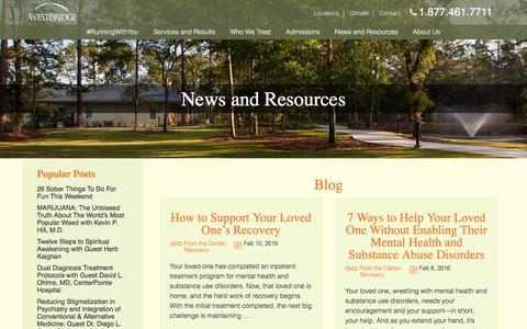 Screenshot of Blog westbridge.org - WestBridge - Family-centered treatment for mental illness & substance use disorders - captured Feb. 14, 2016