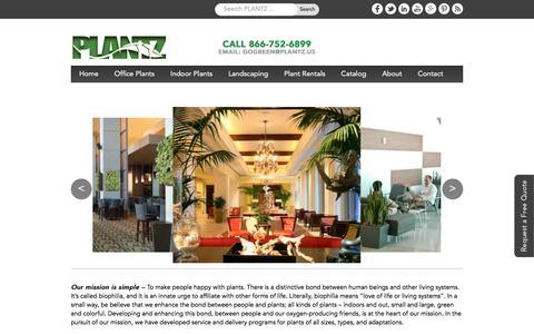Screenshot of Home Page plantz.us - Office Plants | Indoor Plants for Green Wall, Wedding Plants Rental - captured July 9, 2016