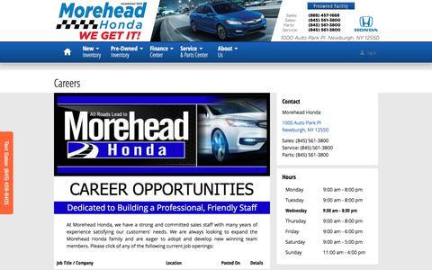 Screenshot of Jobs Page moreheadhonda.com - Morehead Honda | New Honda dealership in Newburgh, NY 12550 - captured Dec. 22, 2016
