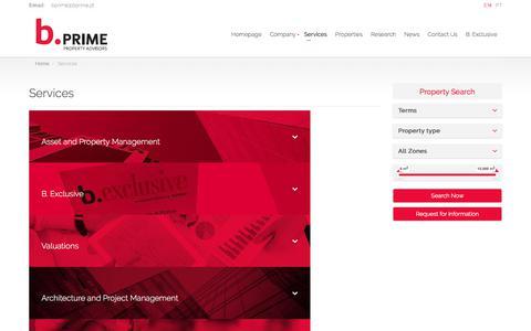 Screenshot of Services Page bprime.pt - Services | B. Prime - captured July 17, 2018
