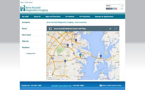 Screenshot of About Page Maps & Directions Page annearundeldiagnostics.com - Anne Arundel Diagnostics Imaging - captured April 1, 2016