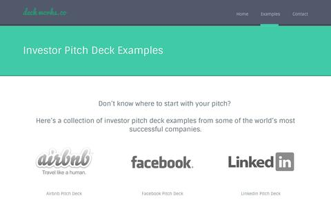 Screenshot of deckworks.co - Investor Pitch Deck Examples Collection - captured March 22, 2016