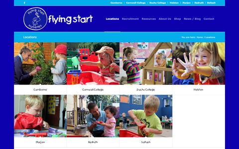Screenshot of Locations Page flyingstart.uk.com - Locations - Flying Start childcare nurseries for babies, toddlers and children in Cornwall and Plymouth - captured Nov. 1, 2018