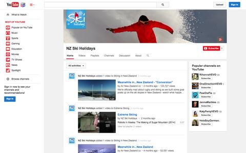 Screenshot of YouTube Page youtube.com - NZ Ski Holidays  - YouTube - captured Nov. 5, 2014