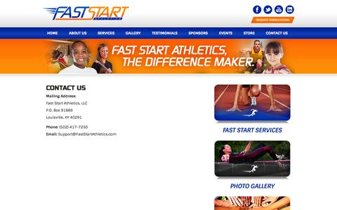 Screenshot of Contact Page faststartathletics.com - Fast Start Athletics - The Difference Maker  » Contact Us - captured Oct. 5, 2014