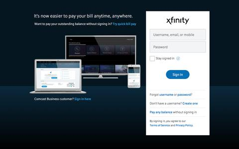 Screenshot of Login Page xfinity.com - Sign in to Xfinity - captured July 14, 2019