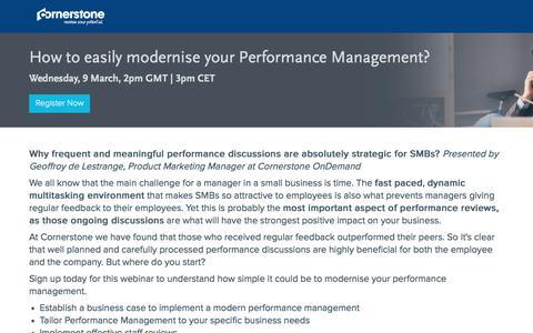 Screenshot of Landing Page cornerstoneondemand.com - Webinar - How to modernise your Performance Management - captured Oct. 29, 2016