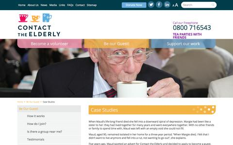 Screenshot of Case Studies Page contact-the-elderly.org.uk - Contact the Elderly - captured July 21, 2018