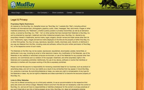 Screenshot of Terms Page mudbay.com - Legal - Mud Bay | Natural Dog & Cat Foods | Pet Supply Stores | Seattle, Bellevue, Tacoma, Portland - for Healthy Dogs and Cats - Mud Bay for Healthy Dogs and Cats - captured Dec. 4, 2015