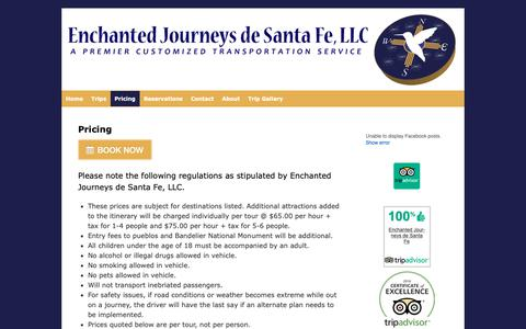 Screenshot of Pricing Page enchantedjourneysdesantafe.com - Pricing | Enchanted Journeys de Santa Fe - captured Nov. 10, 2018