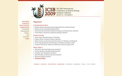 Screenshot of Contact Page icsb-2009.org - Organizers | ICSB 2009 | The 10th International Conference on Systems Biology - captured Feb. 9, 2017