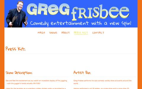 Screenshot of Press Page frisbeeshow.com - Press Kit | Greg Frisbee | comedy juggler for corporate events, fairs and festivals - captured Sept. 24, 2017