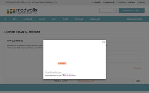 Screenshot of Login Page modwalls.com - Customer Login - captured Oct. 20, 2015