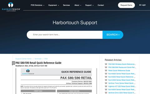 Screenshot of Support Page harbortouch.com - PAX S80/S90 Retail Quick Reference Guide : Harbortouch Support Center - captured Oct. 9, 2018