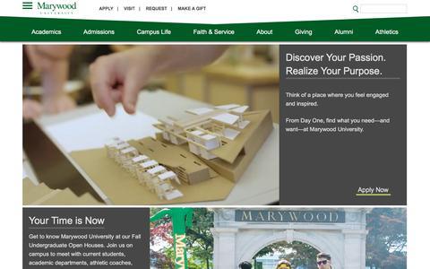 Screenshot of Home Page marywood.edu - Home   Marywood University - captured Sept. 23, 2018