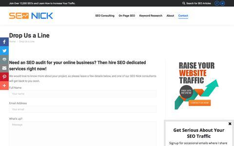 Screenshot of Contact Page seonick.net - Drop Us a Line - captured Jan. 15, 2018