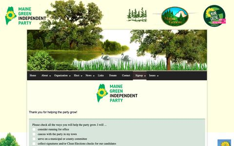 Screenshot of Signup Page mainegreens.org - Signup - captured Oct. 2, 2018