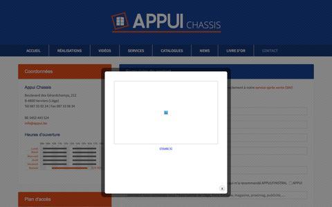 Screenshot of Contact Page appui.be - Appui sprl, châssis de fenêtres en pvc, bois et Aluminium - captured Feb. 5, 2016