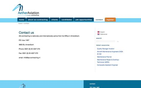 Screenshot of Contact Page aa-contracting.nl - Contact | AA-Contracting - captured July 23, 2016