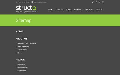 Screenshot of Site Map Page structa.co.uk - Structa LLP | Consulting Engineers - captured Oct. 8, 2014