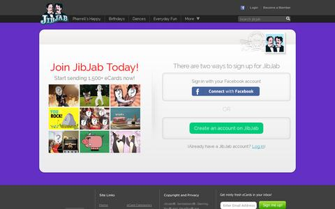 Screenshot of Signup Page jibjab.com - Funny eCards, Happy Birthday eCards, and Holiday eCards - JibJab.com - captured July 20, 2014
