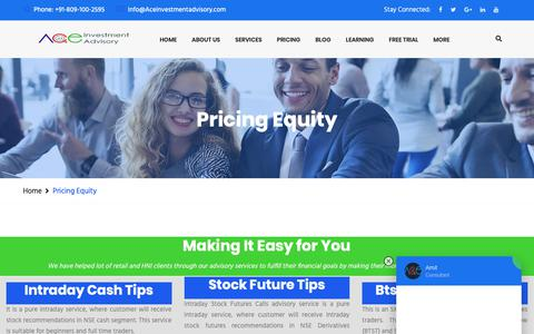 Screenshot of Pricing Page aceinvestmentadvisory.com - Pricing Equity | Best SEBI Registered Investment adviser - captured Oct. 19, 2018
