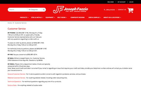 Screenshot of Support Page shopjfi.com - Customer Service - captured Oct. 7, 2017