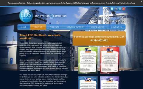 Screenshot of About Page edsscotland.co.uk - About EDS Scotland - Experts In Dust & Fume Extraction Systems - captured Sept. 28, 2018