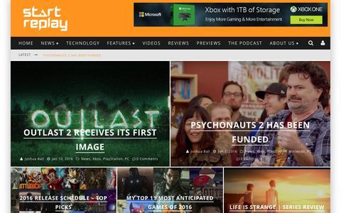 Screenshot of Home Page startreplay.com - Home Đ Start Replay - captured Jan. 13, 2016