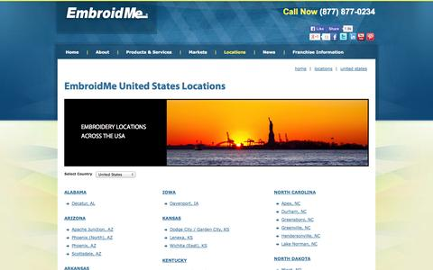 Screenshot of Locations Page embroidme.com - United States Embroidery, Screen Printing & Promotional Products Locations - captured Oct. 11, 2014