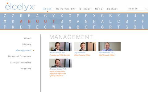 Screenshot of Team Page elcelyx.com - Management - Elcelyx - captured Nov. 1, 2017