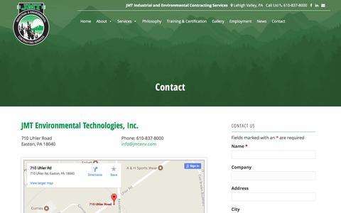 Screenshot of Contact Page jmtenv.com - JMT Environmental Technologies - 610.837.8000 - Easton, PA - captured July 7, 2017