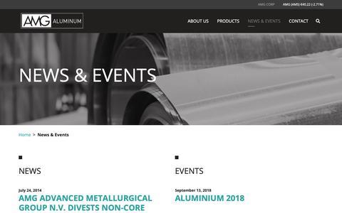 Screenshot of Press Page amg-al.com - News & Events – AMG Aluminum - captured Nov. 12, 2018