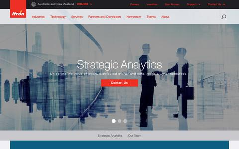 Screenshot of Services Page itron.com - Strategic Analytics - captured April 4, 2019