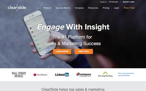 Screenshot of Home Page clearslide.com - The Platform for Sales & Marketing Success | ClearSlide - captured Jan. 31, 2016