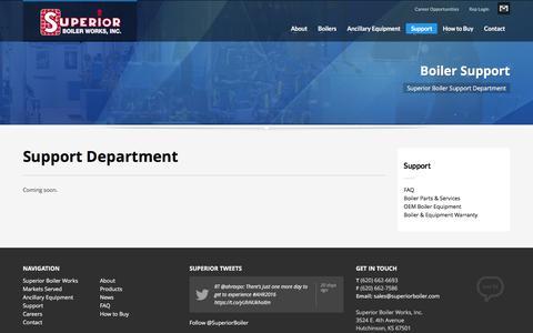 Screenshot of Support Page superiorboiler.com - Support Department   Superior Boiler Works, Inc. - captured Feb. 16, 2016
