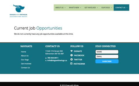 Screenshot of Jobs Page dogswithwings.ca - Careers / Current Needs - Dogs with Wings - captured Oct. 9, 2018