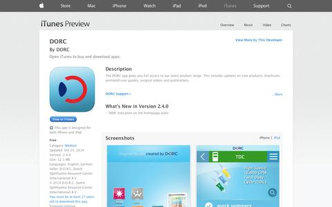 Screenshot of iOS App Page apple.com - DORC on the App Store on iTunes - captured Nov. 3, 2014