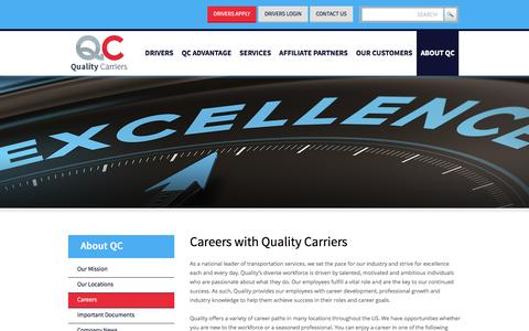 Screenshot of Jobs Page qualitycarriersinc.com - Quality Carriers Truck Driving Careers | QC Truck Driver Career - captured March 13, 2016
