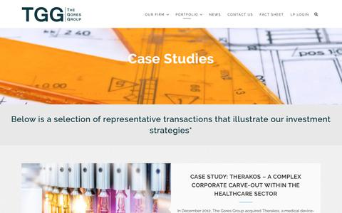 Screenshot of Case Studies Page gores.com - Case Studies – The Gores Group - captured Nov. 3, 2018