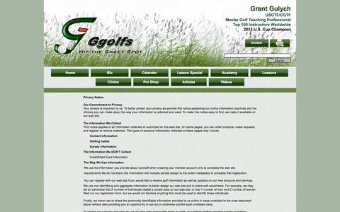 Screenshot of Privacy Page ggolfs.com - Privacy policy - captured Sept. 29, 2014