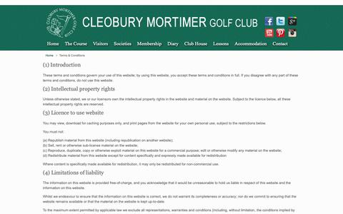 Screenshot of Terms Page cleoburygolfclub.co.uk - Terms & Conditions | Cleobury-Mortimer Golf Club - captured Sept. 28, 2018