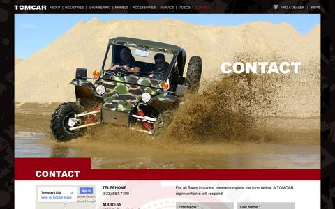 Screenshot of Contact Page tomcar.com - Extremely Durable Vehicles | Off-Roading Vehicles | TOMCAR - captured Oct. 1, 2014