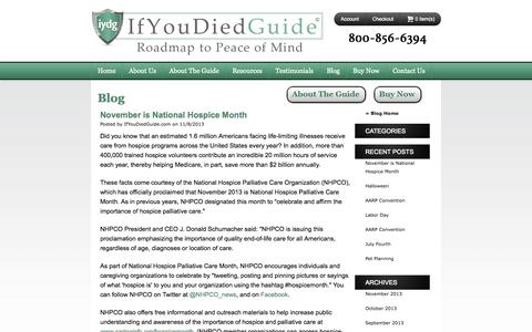 Screenshot of Blog ifyoudiedguide.com - Blog -  If You Died Guide - captured Sept. 30, 2014