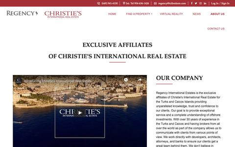 Screenshot of About Page theturksandcaicos.com - About us – Regency International Estates - captured Oct. 18, 2018