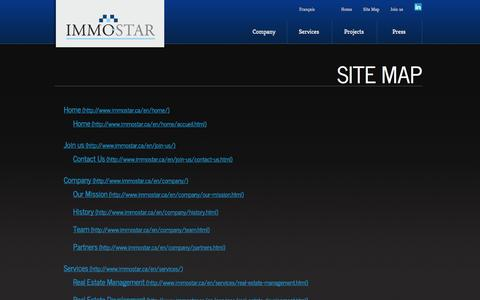 Screenshot of Site Map Page immostar.ca - Site map - captured Sept. 30, 2014
